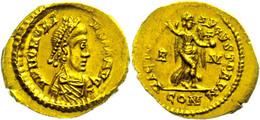 95 Honorius, 395-402, Tremisses (1,48g). Av: Brustbild Nach Rechts, Darum Umschrift. Rev: Viktoria Mit Kranz Und Kreuzgl - 4. Other Roman Coins