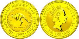 481 200 Dollars, Gold, 1997, Känguru, 2 Unzen Gold, Auflage Lt. Schön Nur 150 Stück! Schön 369, KM 1043, In Kapsel, St.  - Australia