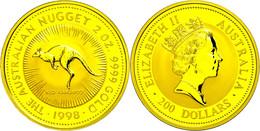 482 200 Dollars, Gold, 1998, Känguru, 2 Unzen Gold, Auflage Lt. Schön Nur 150 Stück! Schön 410, In Kapsel, St.  St - Australia