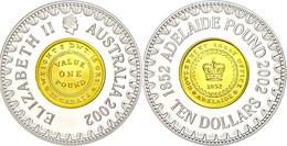 484 10 Dollars, 2002, Australische Münzgeschichte - Pound 1852, Teilvergoldet, KM 661, Schön 683, Im Etui Mit OVP Und Ze - Australia