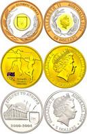 487 Set Zu 2x 5 Und 1x 50 Dollars, XXVIII. Olympische Spiele In Athen, KM 727, 727 Und 812, Schön 784 - 786, Im Holzetui - Australia
