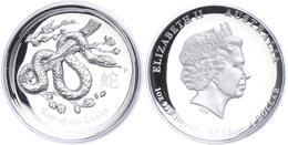 492 1 Dollar, 2013, Lunar Serie II. - Jahr Des Schlange, 1 Unze Silber, High Relief, Etui Mit Zertifikat. Auflage Nur 7. - Australia