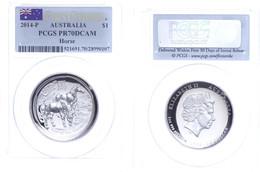 497 1 Dollar, 2014, P, Year Of The Horse, In Slab Der PCGS Mit Der Bewertung PR70DCAM, First Strike, Flag Label. - Australia