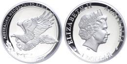 498 1 Dollar, 2014, Wedge Tailed Eagle, 1 Unze Silber, High Relief, Etui Mit OVP Und Zertifikat. Auflage Nur 10.000 Stüc - Australia