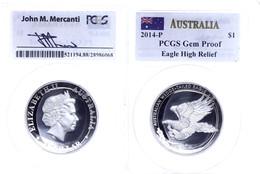 499 1 Dollar, 2014, Wedge Tailed Eagle, In Slab Der PCGS Mit Der Bewertung Gem Proof, High Relief, Mercanti-Flag Label,  - Australia