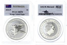 500 1 Dollar, 2014, Wedge Tailed Eagle, In Slab Der PCGS Mit Der Bewertung MS70, First Strike, Flag Label. - Australia