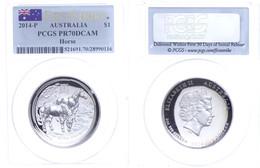 506 Dollar, 2014, P, Year Of The Horse, In Slab Der PCGS Mit Der Bewertung PR70DCAM, First Strike, Flag Label. - Australia