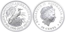 510 50 Cents, 2015, 25. Jahre Kookaburra - Coin Show In Beijing, 1/2 Unze Silber, Etui Mit OVP Und Zertifikat. Auflage N - Australia