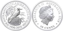 511 50 Cents, 2015, 25. Jahre Kookaburra - Coin Show In Beijing, 1/2 Unze Silber, Etui Mit OVP Und Zertifikat. Auflage N - Australia