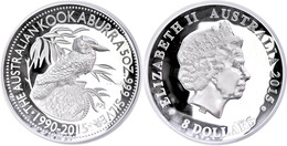 512 8 Dollars, 2015, 25. Jahre Kookaburra, 5 Unze Silber, High Relief, Etui Mit OVP Und Zertifikat. Auflage Nur 1.000 St - Australia