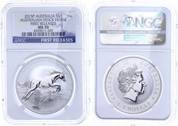 516 Dollar, 2015, Stock Horse, In Slab Der NGC Mit Der Bewertung MS70, First Releases. - Australia