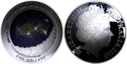 520 5 Dollars, 2016, Northern Sky - Cassiopeia, 1 Unze Silber, Gewölbt, Coloriert, Etui Mit OVP Und Zertifikat. Auflage  - Australia