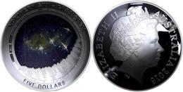 521 5 Dollars, 2016, Northern Sky - Cassiopeia, 1 Unze Silber, Gewölbt, Coloriert, Etui Mit OVP Und Zertifikat. Auflage  - Australia