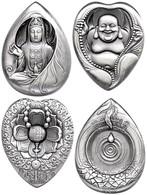 531 Set Zu Zwei Silbermedaillen, O.J., Budhha, Je 60g Silber, Antik Finish, Etuis Mit Zertifikaten, St. Auflage Jeweils  - China