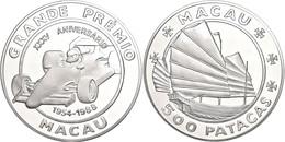 533 Macau, 500 Patacas, Silber, Macau Grand Prix, 155,5g Fein, Mit Zertifikat In Ausgabeschatulle, Leichte Fingerabdrück - China