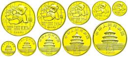 534 Set Zu 5, 10, 25, 50 Und 100 Yuan, Gold, 1989, Panda, Insgesamt 59,07g Feingold, KM 183, 223, 224, 226 Und 229, Mit  - China