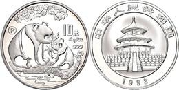 538 10 Yuan, 1993, Panda Mit Jungtier, KM 478, Schön 523, Mit Beizeichen P. In Schatulle Ohne Zertifikat, PP.  PP - China