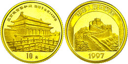 539 10 Yuan, Gold, 1997, 1/10 Unze, Halle Der Höchsten Harmonie, KM 1074, In Kapsel Mit Zertifikat, PP.  PP - China