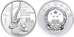 540 10 Yuan, 2011, 50 Jahre WMF - Tibet Antilope, 1 Unze Silber, Etui Mit OVP Und Zertifikat, PP  PP - China