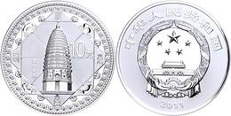 542 10 Yuan, 2011, Weltkulturerbe Von Dengfeng, 1 Unze Silber, Etui Mit OVP Und Zertifikat, PP  PP - China