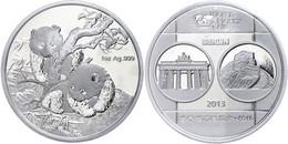 543 1 Unze Silber, 2013, World Money Fair In Berlin, Verschweißt, Im Etui Mit OVP Und Zertifikat, PP. Auflage Nur 10.000 - China