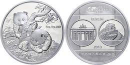 545 1 Unze Silber, 2013, World Money Fair In Berlin, Verschweißt, Im Etui Mit OVP Und Zertifikat. Auflage Nur 10.000 Stü - China