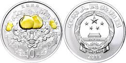 547 10 Yuan 2015, Auspicious Culture - Glückssymbole: Fledermaus Und Pfirsiche, 1 Unze Silber, Teilvergoldet, Etui Mit O - China
