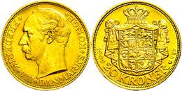 557 20 Kronen, Gold, 1902, Frederik VIII., Fb. 297, Kl. Rf., Vz.  Vz - Denmark