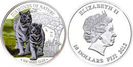 563 10 Dollars, 2012, Weißer Tiger, 1 Unze Silber, Coloriert, Etui Mit OVP Und Zertifikat, PP. Auflage Nur 1.000 Stück.  - Fiji