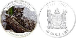 565 10 Dollars, 2013, Leopard, 1 Unze Silber, Coloriert, Etui Mit OVP Und Zertifikat, PP. Auflage Nur 1.000 Stück.  PP - Fiji