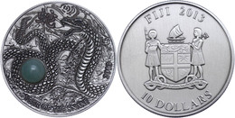 567 10 Dollars, 2013, Year Oh The Snake, 999er Silber, Antik Finish, High Relief, Stein, In Kapsel Mit Zertifikat, St. A - Fiji