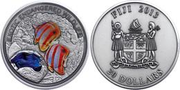 568 20 Dollars, 2013, Great Barrier Reef, 2 Unze Silber, Coloriert, Antik Finish, Etui Mit OVP Und Zertifikat, St. Aufla - Fiji