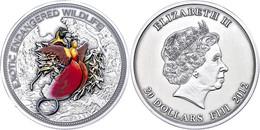 569 20 Dollars, 2014, Paradiesvogel, 2 Unze Silber, Coloriert, Antik Finish, Etui Mit OVP Und Zertifikat, St. Auflage Nu - Fiji