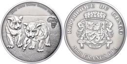 603 2.000 Francs, 2013, Africa - Babylöwen, 3 Unzen Silber, Antik Finish, In Kapsel Mit Zertifikat, St. Auflage Nur 500  - Gabon