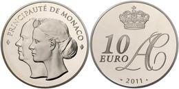 702 10 Euro, 2011, Albert II., Auf Die Hochzeit, Auflage Nur 4000 Stück!, Mit Zertifikat In Schatulle Und OVP, PP.  PP - Monaco