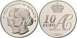 703 10 Euro, 2011, Albert II., Auf Die Hochzeit, Auflage Nur 4000 Stück!, Mit Zertifikat In Schatulle Und OVP, PP.  PP - Monaco