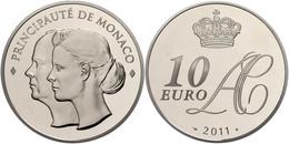 704 10 Euro, 2011, Albert II., Auf Die Hochzeit, Auflage Nur 4000 Stück!, Mit Zertifikat In Schatulle Und OVP, PP.  PP - Monaco
