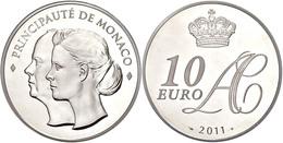 705 10 Euro, 2011, Albert II., Auf Die Hochzeit, Auflage Nur 4000 Stück!, Mit Zertifikat In Schatulle Und OVP, PP.  PP - Monaco