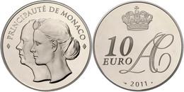 707 10 Euro, 2011, Albert II., Auf Die Hochzeit, Mit Zertifikat In Schatulle Und OVP, PP. Auflage Nur 4000 Stück!  PP - Monaco