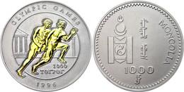 708 1000 Tugrik, 1996, Läufer In Der Antike, 5 Unzen Silber, Mit Goldauflage, KM 115, Mit Zertifikat In Schatulle, St. A - Mongolia