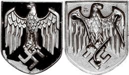 1363 Wehrmacht Afrikakorps Tropenhelmschild, Adlerschild, Hersteller Assmann, Schwarze Lackierung Partiell Gelöst, Zusta - Army & War