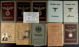 1420 11x Ausweise Und Dokumente, Dabei Wehrpass BW, Sammelbuch, 4x Arbeitsbuch, 2x Kennkarte, Ausweis Für Empfänger Von  - Documents
