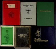 1422 6x Ausweise Und Dokumente, Dabei Arbeitsbuch, Kennkarte, Führerschein, Mitgliedsbuch Deutsche Arbeitfront, Grundsch - Documents
