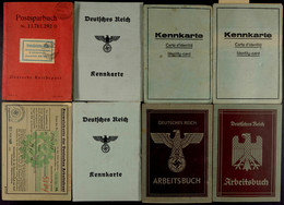 1423 8x Ausweise Und Dokumente, Dabei 2x Arbeitsbuch, 4x Kennkarte, Postsparbuch Und Ausweiskarte Der Deutschen Arbeitsf - Documents