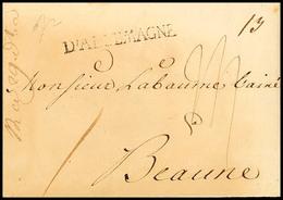 """2400 """"Plauen 17. Mai 1798"""", Transitbrief Mit L1 """"D'ALLEMAGNE"""" (Straßburg 42x4 Mm) Nach Beaume/Frankreich, Vollständiger  - Sachsen"""