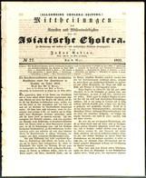 """2402 1832, 9. Mai, """"Allgemeine Cholera-Zeitung"""", Leipzig Mit Berichten über Den Stand Der Choleraerkrankungen In Sachsen - Sachsen"""
