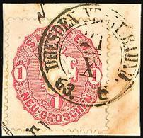 """2423 """"DRESDEN NEUST:  BAHNH."""", Klarer Bahnhofsstempel (Milde 51-4) Auf Kleinem Briefstück Mit 1 Ngr. Wappen, Auf Wappen  - Sachsen"""