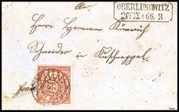 """2429 """"151"""" - OBERLUNGWITZ, Klarer Abschlag Als Nachverwendung Auf Brief Mit 1 Gr.   Durchstochen (angeschnitten) Und Ra2 - Sachsen"""
