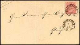 """2433 """"GROSSENHAIN 3 XII 69"""" - K2, Auf NDP GS-Umschlag 1 Gr. Rosa A. Sachsen 1/2 Ngr. Orange, Sächsischer Klappenstempel, - Sachsen"""