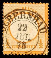 """2435 """"OLBERNHAU 22 JUL 73"""" - K2, Zentrisch Klar Auf Kabinettstück DR 1/2 Gr. Orange, Katalog: DR18 O - Sachsen"""
